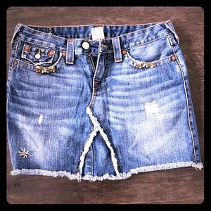 True Religion embellished Jean skirt